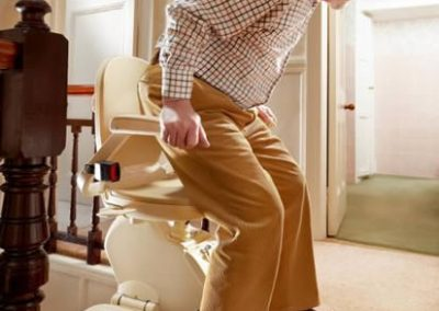 Brooks stairlift seat swivels at the top of the stairs